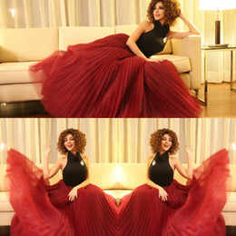 Wholesale Black Layered Tulle Prom Dress - Black And Red Halter Evening Gowns Myriam Fares Sexy Backless Ruffles Prom Dresses Tulle Layered Runway Fashion Formal Party Dress