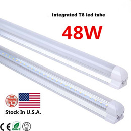 Wholesale Leds 48w - NEW Integrated 2.4m 8ft 48W Led T8 Tube Lights SMD2835 192 Leds High Bright 4800lm Warm Cool White Frosted Transparent Cover 85-265V