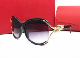 hollow box frames 2018 - New arrival Novel hollow frames with metal leobard Outdoor brand designer UV400 Sunglasses lady women shade Fashion Retro with original box