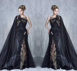 Wholesale Blue Winter Cape - 2018 Tony Chaaya Mermaid Evening Dresses Sexy Black Lace Appliques Prom Gowns With Cape ribbon Illusion Applique Celebrity Formal Wear