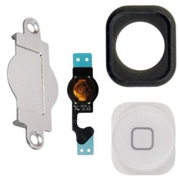 Wholesale Only Cable - 10sets lot for iphone 5 home button keypad Menu + flex cable + holder gasket rubber + metal spacer for iphone 5G Home Button Set