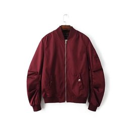 Wholesale Mens Casual Spring Jackets - 2016 Spring Autumn Mens Solid Flight Wine Red Bomber Jacket Men's Rib Sleeve Zipper Short Air Force Baseball Coats Clothing