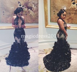 Wholesale Nude Dressed Woman Girl - Sexy Mermaid Black Lace Evening Dresses Sexy Keyhole Neck Backless Flouncing Black Girl Couple 2017 Prom Party Gowns Women Pageant Runway