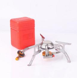 Estufas de gas portátiles al aire libre online-Estufa de gas plegable al aire libre Estufas de acampar Estufa portátil de gas portátil con estufa portátil plegable de la caja 3000W