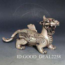 Arte popular vintage on-line-Coleção Folk Art Chinês Oriental vintage Prata Cobre Mão-carved Chilong Dragon Statue