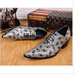 Wholesale Silver Party Shoes - Exclusive New Design Fashion Genuine Mens Shoes Printings Eye Silver Oxfords Male Pointed Toe Lace-Up T Show British Party Feast Summer Man