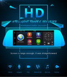 "Wholesale Rearview Mirror Gps Navigation - 7"" 3G Car DVR Camera GPS Navigation Bluetooth Dual Lens Rearview Mirror Video Recorder FHD 1080P Automobile Dash cam"