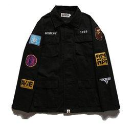 Wholesale Popular Fashion Clothes - aape kanye jacket,shark high quality hot casual fashion embroidery jacket ,unisex popular hip hop denim clothing