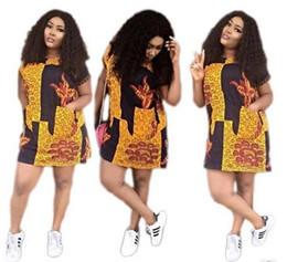 Wholesale Bohemia Shirt - 2017 New women Dresses Fashion printing in Africa Midi Beach Bohemia Dresses summer style Loose mini t-shirt Dress