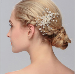 Wholesale Accessories Hand For Wedding - 2017 Modern Bride Headpiecs Wedding Accessories Hand Pearl Plate Bridal Crystal Jewelry Hair Sticks For Party Shining