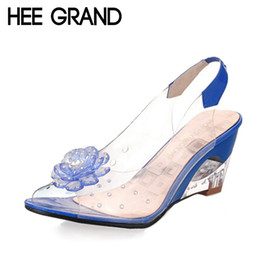 Wholesale Clear Jelly Shoes Women - Wholesale-HEE GRAND Summer Sandals Women Peep Toe Wedge Sandals Flowers Sweet Jelly Shoes Woman Shoes For Lady Size Plus 35-43 XWZ831