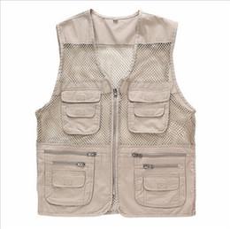 Wholesale Photography Works - Wholesale- Summer Mesh Vest Multi-pocket Vest Photography Vest Working Waistcoat Size L-4XL