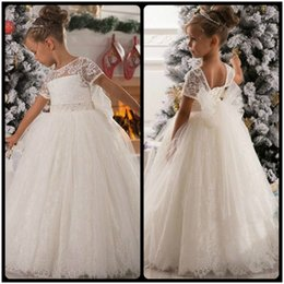 Wholesale Girls Xmas Dress - White Ball Gown Little Kids Xmas Flower Girls Dresses For Weddings Sheer Lace Bow Tulle Pageant Party Dress Short Sleeve 2017