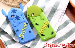 Wholesale Stich Cases - For Iphone 7 7plus Anime Cartoon Stich 3D Cute Silicon Back Cover Case Monsters Mike Stitch Case For iPhone 6 6s Plus Fundas Capa