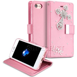 Wholesale Bling Cards - Mercury For iPhone 7 Bling Bling Case For Galaxy S7 Kickstand Holder Case For iPhone 6 LG K7 Shockproof Wallet Case with OPP Package