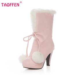 Wholesale Ladies Footwear Boots - Wholesale-Women Half Boot High Heel Thickened Plush Botas Lady Sexy Fashion Botines Mujer Brand Footwear Shoes P691 Size 34-39