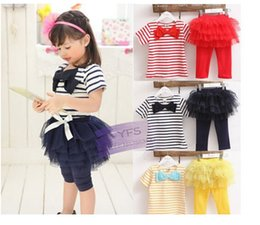 Wholesale Casual Wear For Little - Wholesale- Kids summer spring wear Short sleeve sets Children clothing striped suit t shirt+pants for little girls apparel suit