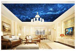 Wholesale Fantasy Bedroom - High Quality Custom 3d ceiling wallpaper murals Realistic Blue Night Fantasy Sky Living Room Ceiling Ceiling Fresco