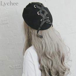 Wholesale Japanese Lolita - Wholesale-Japanese Lolita Style Women Ring Ribbon Lacing Bow Wool Hat Harajuku Casual Loose Black Beret