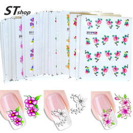Wholesale Elegant Nail Art Decal Stickers - Wholesale- 50Sheets Elegant Flowers Nail Art Decals Water Transfer Nail Stickers Nail Art Wraps Tips Decoration DIY Accessories XF1001-1050