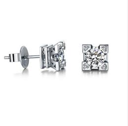 Wholesale Eiffel Earrings - Platinum plated AAA zircon Eiffel Tower earrings Free shipping