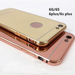Wholesale Detachable Bumper Case Iphone - Luxury Metal Aluminum Bumper Detachable + Mirror Hard Back Case 2 in 1 Cover Ultra-Thin Frame for iPhone 7 6