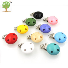 Wholesale Assorted Wood - Wholesale-10 x assorted Mint color baby pacifier toy Teether clip baby holder infant Soother Clasps natural wood teething Fitting EA204
