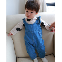 Wholesale Cute Toddler Jeans - Toddler Kids jeans jumpsuits Infant cute rabbit bunny ear jumpsuits baby boys girls leisure loose denim pants baby spring clothing T3442