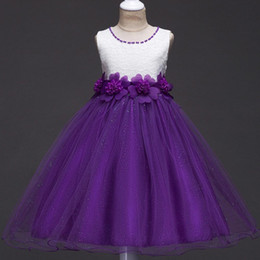Wholesale Pretty Little Princess Dresses - Pretty Two Color Little Kids Flower Girl Dresses Short A Line Princess Crew Neck with Hand Made Flowers Bling Girls Pageant Dress MC1050