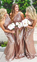 Wholesale Sparkling One Shoulder Bridesmaid Dresses - 2017 New Elegant One Shoulder Rose Pink Sequins Long Bridesmaid Dresses Sparkling Ruched Floor Length Evening Party Prom Dresses Custom Made