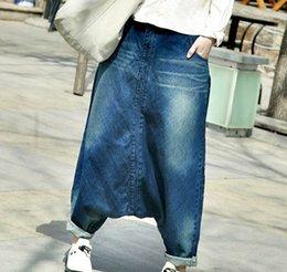 Wholesale Stripes Women Legging - Wholesale- Free shipping Women hip hop streetwear Baggy jeans Boyfriend American pants Wide Leg Baggy Denim Jean Bloomers WP15