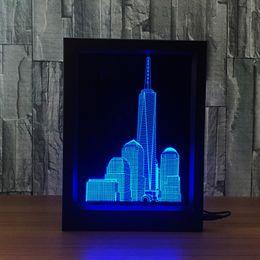 Wholesale City Hearts - 3D City Skyscraper Building LED Photo Frame Decoration Lamp IR Remote 7 RGB Lights DC 5V Factory Wholesale Drop Shipping
