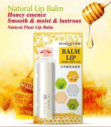 Wholesale Aloe Lip Balm - BIOAQUA Natural Aloe Honey Moisturizing Lip Balm Colorless Refine repair lip wrinkles Woman Winter Lip Care DHL shipping