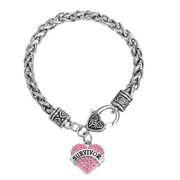 Wholesale Breast Cancer Charms - Wholesale-European & American Breast Cancer Awareness Crystal Heart Survivor Bracelet Jewelry