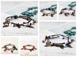 Wholesale artistic leather - Good A++ Artistic national wind bells leaves vintage braided ceramic bracelets FB491 mix order 20 pieces a lot Slap & Snap Bracelets