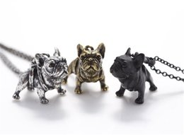 Wholesale Necklace French - Retro Style 3D French Bulldog Pendant Necklace Vintage Silver Bronze Black Puppy Pet Necklaces For Women Men Jewelry Dogs Best Friend Gifts