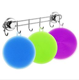 Escova limpa limpador pan on-line-Novos Escovas De Lavagem De Silicone Prato Tigela Escovas de Limpeza Escova de Limpeza Panela Pan Wash Brushes Cleaner Cozinha