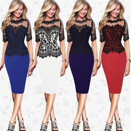 Wholesale Cheap Shipping Bodycon Dresses - New Fashion Embroidery Lace Half sleeve Cheap For Women Dress Summer Dress Party Dressesc free shipping BB018