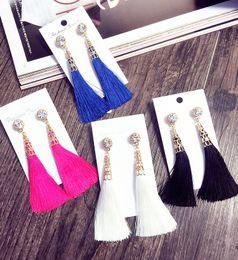 Wholesale Women Fringes - Thread Long Tassel Earrings Rhinestone Drop Statement Fringe Earrings for Women Luxury Tear Drop Earrings European Rhinestone Tassel Dangle