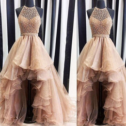 Wholesale Beaded High Neck Halter Gowns - 2017 High Low Gold Prom Dresses Crystals Halter Beaded Puffy Formal Beach Special Occasion Party Gowns Evening Celebrity Dresses