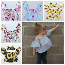 Wholesale Little Girl Boutique Wholesale - 2017 off the shoulder tops summer baby floral sunflower shirts + flower headbands girls boutique clothing sets little girl clothes tank top