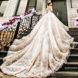 Wholesale Elegant Wedding Gowns Bling - 2017 Elegant Ball Gown Bling Off Shouler lace Applique Beaded Lace Bohemian Berta Wedding Dresses Bridal Gowns With Sleeves