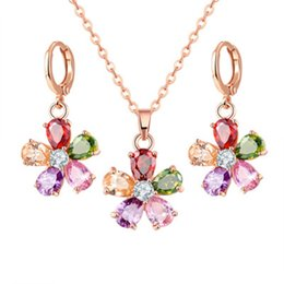 Wholesale Crystal Floral Necklace Set - 2017 Floral Design Flower Necklace And Earring Set Cubic Zirconia Sunflower Jewelry Sets Crystal Jewelry For Women
