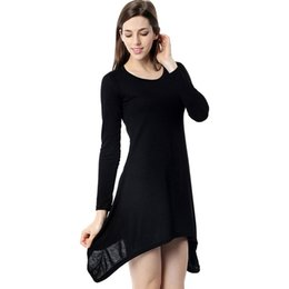 Wholesale Ladies Cotton Long Tunics - Ladies Blusas New Autumn Women Simple Long Blouse Full Sleeve Cotton Tunic Shirt Tops Women Loose Casual Stretch Shirts Top WT32906