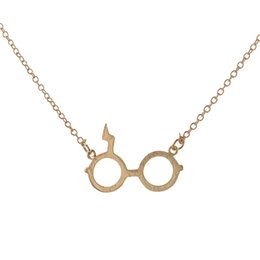 Wholesale Harry Necklace - Harry Vintage Potter Glasses Pendants Necklaces Black Silver Plated Jewelry Lightning Scar Necklace Collares For Fans Gift jl-060