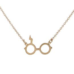 Wholesale Vintage Black Fan - Harry Vintage Potter Glasses Pendants Necklaces Black Silver Plated Jewelry Lightning Scar Necklace Collares For Fans Gift jl-060