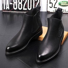 Wholesale Vintage Mens Boots - New Arrival Fashion Mens Leather Chelsea Boots Casual Flats Brand Men's Ankle Martin Boot Vintage Shoes