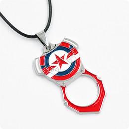Wholesale Sliding Opener - Marvel Captain America Bottle Opener Metal Pendant Chain Necklace For Men Women Movie Fans Gift Jewelry