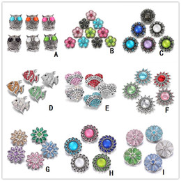 Wholesale Heart Hooks - Fashion 9 styles Crystal Heart Owl Snap Button 18mm Interchangeable Noosa Flower Ginger Snap Jewelry DIY Necklace Bracelet Accessory
