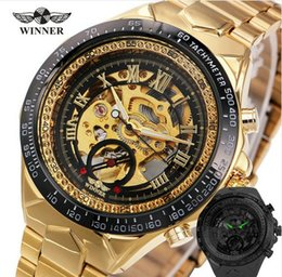 Wholesale Winner Skeleton Silver Automatic - 2018 New Fashion Men Mechanical Watch Winner Golden Top Brand Luxury Steel Automatic Classic Skeleton Wristwatch BEST Gift